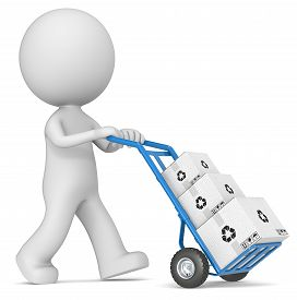 foto of hand-barrow  - The dude 3D character pushing blue Hand Truck with pile of white Cardboard Boxes - JPG