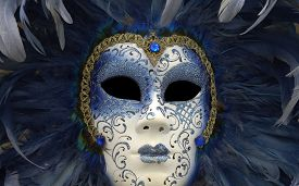 image of venice carnival  - horizontal picture of a mask of Venice carnival - JPG