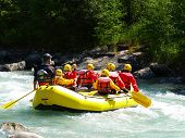 foto of upstream  - river rafting on a little yellow boat - JPG