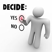 Decide Yes Or No - Man At Touch Screen
