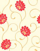 Seamless blossoming flowers pattern in warm colors