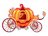 image of cinderella coach  - Pumpkin carriage for Cinderella or Halloween isolated over white - JPG