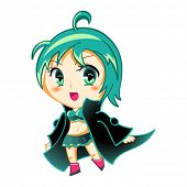 stock photo of chibi  - Cute anime chibi girl in space traveler coat - JPG