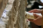 picture of torah  - Prayers hands with Torah Book during prayer at Western Wall in Jerusalem Israel - JPG