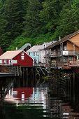 stock photo of brothel  - Famous Creek Street in quiet Ketchikan Alaska - JPG