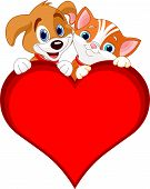 foto of droopy  - Valentine Cat and dog holding sign heart  - JPG