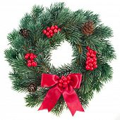 picture of christmas wreath  - Christmas decoration with red berries  isolated on white background - JPG