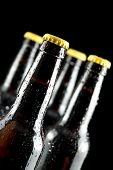 beer bottles isolated on a black background