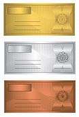raster Coupon trio Gold Silver Bronze template