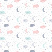 Cute Hand Drawn Seamless Pattern With Smiling Clouds And Moon With Stars. Funny Weather Theme. Kids poster