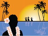 stock photo of hula dancer  - Hawaiian scenery vector illustration with Hawaiian dancers - JPG