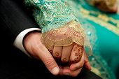 picture of traditional dress  - Close up of a Moroccan wedding couple - JPG