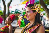 Brazilian Carnival. Women Wearing Carnival Costumes In The City Of Olinda, Pernambuco, Brazil. poster