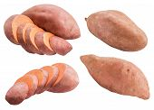 Sweet Pink Potato Isolated On White Background poster