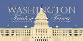 Vector Banner Or Card With Words Freedom Forever And Image Of The Us Capitol Building In Washington  poster