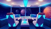 Spaceship Cockpit Interior With Space And Planets View, Rocket Cabin With Control Panel, Neon Glowin poster