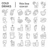 Cold Drinks Thin Line Icon Set, Summer Beverages Symbols Collection, Vector Sketches, Logo Illustrat poster