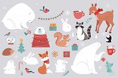 Winter Forest Animals, Merry Christmas Greeting Cards, Posters With Cute Bear, Birds, Bunny, Deer, M poster