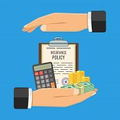Insurance Services Concept Hand Holds Insurance Policy, Money, Calculator And Hand Protects Them. Is poster