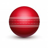 Red Cricket Ball With Leather String. Isolated Sport Equipment For Sport. Hard Solid Spherical Ball  poster