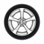 Isolated Car Wheel On White. Auto Tyre Or Automotive Tire With Star Rim. Machine Aluminum Disk Icon. poster