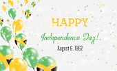 Jamaica Independence Day Greeting Card. Flying Balloons In Jamaica National Colors. Happy Independen poster