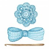 Crochet Light Blue Bow, Flower, Hook Hand Made Concept. Watercolor Hand Drawn Hobby Knitting And Cro poster
