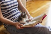 Woman Reading Book And Cuddling Kitten poster