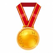 Gold Medal Red Ribbon With Relief Detail. Gold Medal For First Place. Gold Medal Cartoon Realistic I poster