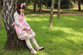 picture of lolita  - sad japanese woman in sweet lolita cosplay - JPG