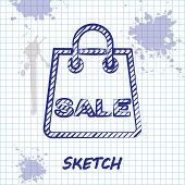 Sketch Line Shoping Bag With An Inscription Sale Icon Isolated On White Background. Handbag Sign. Wo poster
