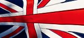 Great Britain National Day. National Flag With Sun In The Background. Panorama. poster