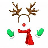 Funny Christmas Reindeer Mask With Antlers Headband, Red Nose, Scarf And Mittens Isolated On White B poster