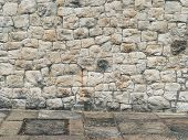 Abstract Empty Urban Exterior Background With Cobble Wall And Concrete Floor Tiling. Medieval Stone  poster