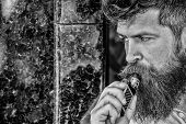 Bearded Man Smoking Vape. Man With Beard Breathe Out Smoke. Smoking Electronic Cigarette. Stress Rel poster