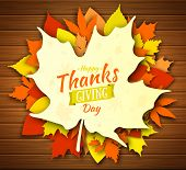 Thanksgiving Day Poster Design. Autumn Greeting Card. Fall Colorful Leaves With Lettering Happy Than poster