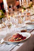 picture of centerpiece  - wedding food on a white plate during a catered event - JPG