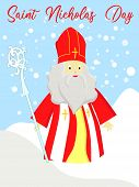 St. Nicolas Day. December 6 And December 19. Sinterklaas On A White Background.. poster
