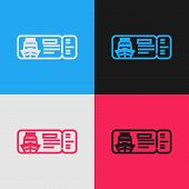 Color Line Cruise Ticket For Traveling By Ship Icon Isolated On Color Background. Travel By Cruise L poster