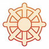 Vessel Steering Wheel Flat Icon. Boat Steering Wheel Orange Icons In Trendy Flat Style. Ship Steerin poster
