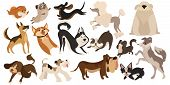 Set Of Funny Dogs. Collection Of Cartoon Playing Dogs. Vector Illustration Of Happy Pets For Kids. S poster