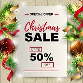 Christmas Sale Banner With Fir-tree, Red And Gold Balls On Wood Background With Paper Sheet. Place F poster