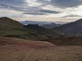 Colorful Rhyolit Rainbow Mountain Panorma With Multicolored Volcanos. Sunrise In Landmannalaugar At  poster