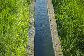 Water Channel In Rice Field. Picture Of An Irrigation Channel With Water, Passing Through A Green Ri poster