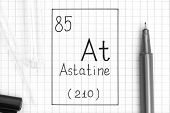 The Periodic Table Of Elements. Handwriting Chemical Element Astatine At With Black Pen, Test Tube A poster
