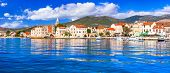 Idyllic coastal towns in Croatia. Scenic Kastella in Dalmatia. view of Kastel Novi village poster