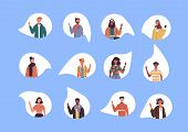 Diverse Multi Ethnic People Set Waving Hello On Isolated White Background. World Wide Culture Mix Of poster