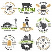 American Farm And Honey Bee Farm Badge Or Label. Vector. Vintage Typography Design With Bee, Honeyco poster