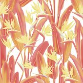 Tropical Crane Flower Vector Seamless Pattern. Jungle Plant Paradise Tropical Summer Fabric Design.  poster