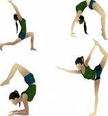 picture of dhanurasana  - Young girl practicing yoga in room Scorpion Pose - JPG